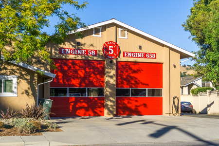June 10, 2018 Morgan Hill  CA  USA - Fire station in south San Francisco bay area