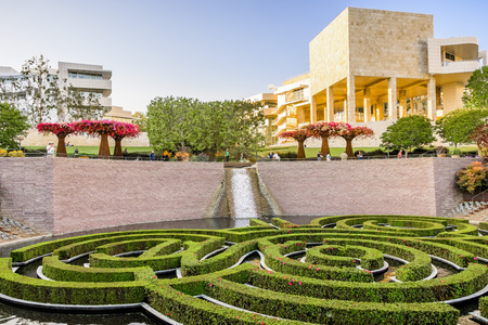 June 8, 2018 Los Angeles / CA / USA - Robert Irwin's Central Garden at Getty Center at sunset