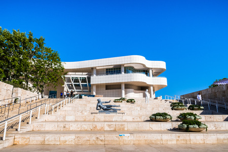 June 8, 2018 Los Angeles / CA / USA - Staircase connecting the arrival plaza to the museum's entrance; the Getty Center, designed by Richard Meier Editorial
