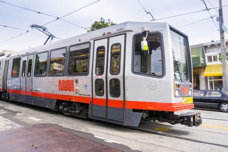 May 6, 2018 San Francisco / CA / USA - MUNI tramway transporting passengers around the city