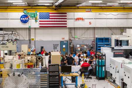 June 10, 2018 La Canada Flintridge / CA / USA -  A group of people visiting the Spacecraft Fabrication Facility during the annual event