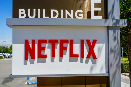 July 30, 2018 Los Gatos  CA  USA - Netflix logo in front of their headquarters situated in Silicon Valley; south San Francisco bay area