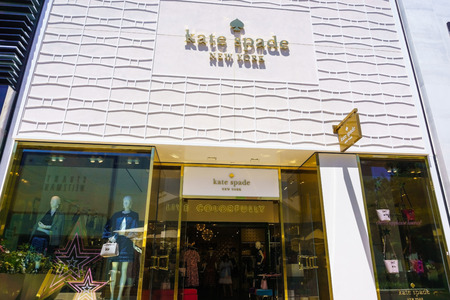 August 2, 2018 Palo Alto / CA / USA - Kate Spade New York store facade and entrance at the upscale open air Stanford Shopping Mall, Silicon Valley, California