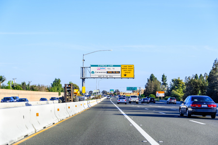 April 14, 2018 Fremont / CA / USA - Driving on the Express Lane in east San Francisco bay area Editorial