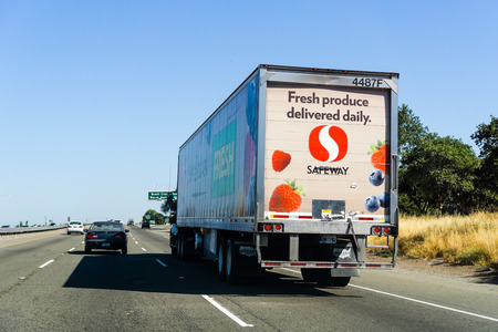 June 23, 2018 Fremont  CA  USA - Safeway truck driving on the freeway in east San Francisco bay area