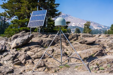June 24, 2018 Mill Creek  CA  USA - Plate Boundary Observation Station located in Lassen Volcanic National Park  in order to study the movement of Earths crust using GPS (Global Positioning System)
