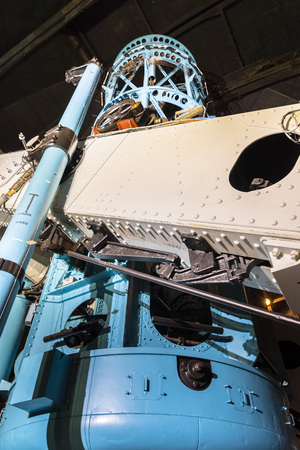 June 9, 2018 Mt Wilson / CA / USA - Close up view of the historical Hooker 100-Inch telescope (completed in 1917), Mt Wilson Observatory complex, San Gabriel mountains, Los Angeles county, California Editorial