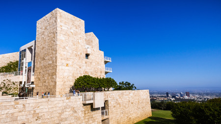 June 8, 2018 Los Angeles / CA / USA - Medieval looking building covered in travertine rock at the Getty Center designed by architect Richard Meier Editorial