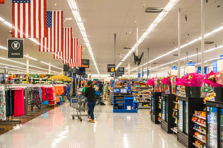 May 11, 2018 Mountain View / CA/ USA - Aisle in one of Walmart's stores in south San Francisco bay area Editorial