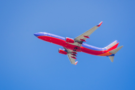 May 3, 2018 Santa Clara  CA  USA - Southwest Airlines aircraft up in the air after taking off from Norman Y. Mineta San Jose International Airport, Silicon Valley Editorial
