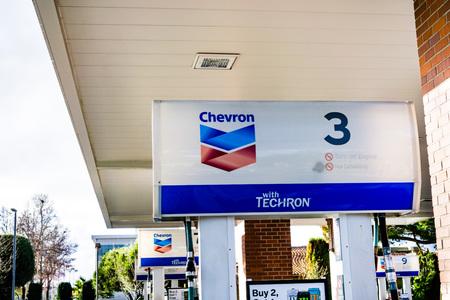 February 3, 2019 Sunnyvale  CA  USA - Chevron gas station in south San Francisco bay area