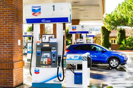 February 3, 2019 Sunnyvale / CA / USA - Chevron gas station in south San Francisco bay area Redakční