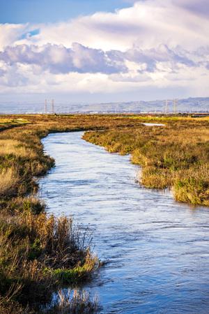 Creek running among the marshes of San Francisco bay, Mountain View, California Reklamní fotografie