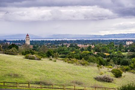 View towards Stanford University and San Francisco bay, Palo Alto, California