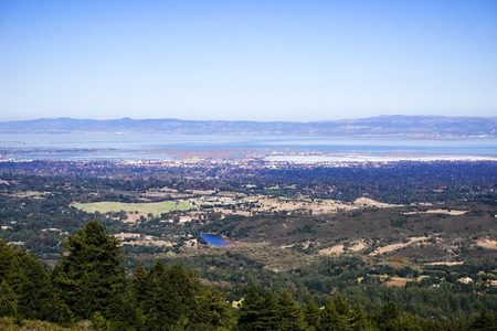 View from Windy Hill towards Redwood City, Silicon Valley, San Francisco Bay Area, California Stock Photo