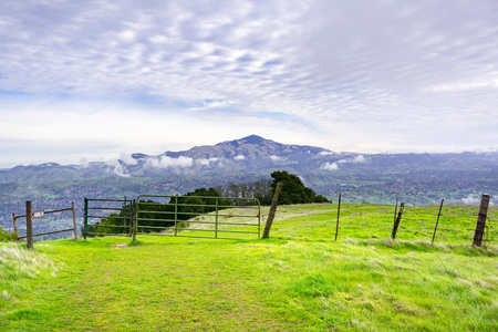 View from Las Trampas Regional Wilderness towards Mount Diablo on an cloudy, overcast day, California