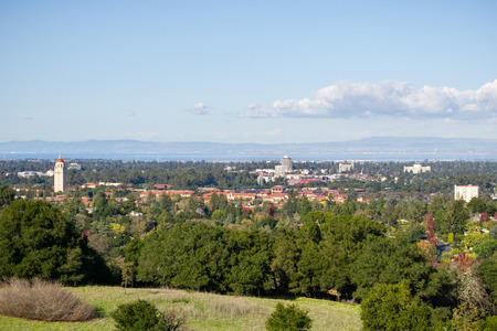 View towards Stanford Campus and Hoover tower from the Stanford dish hills, Palo Alto, San Francisco bay area, California