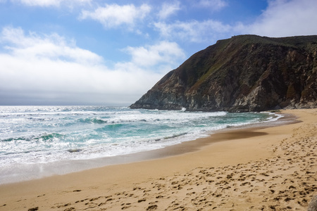 Beach on the Pacific coastline, California Stock Photo