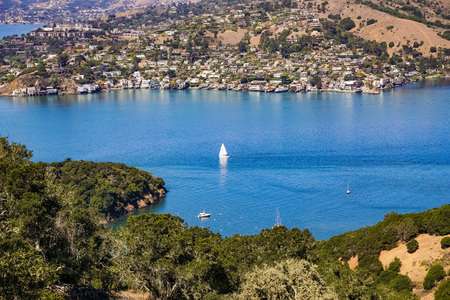 September 24, 2016, Tiburon, California - Ships sail in Belvedere Cove on a clear Autumn day