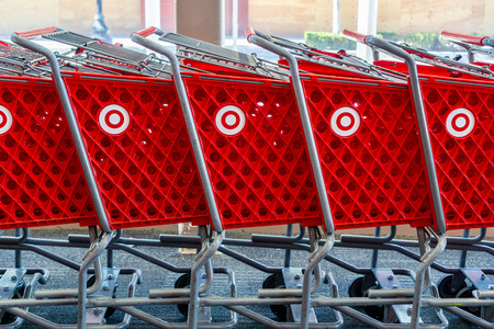 February 19, 2019 Sunnyvale / CA / USA - Stacked Target shopping carts with the company's logo on the side, a bulls eye Reklamní fotografie - 122152991