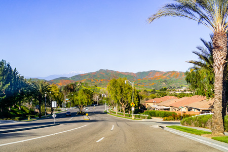 Driving towards Walker Canyon, Lake Elsinore, during the superbloom; hills covered in California poppies visible in the background; south California