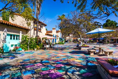 March 19, 2019 San Diego  CA  USA - Landscape in the Spanish Village Art Center area in Balboa Park