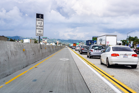 March 20, 2019 Los Angeles  CA  USA - Driving on the freeways of Los Angeles county on the carpool lane