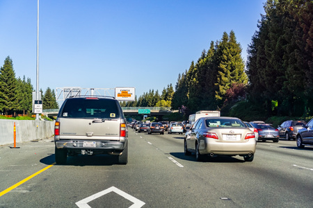 March 31, 2019 Oakland / CA / USA - Heavy traffic on the freeway in east San Francisco bay area
