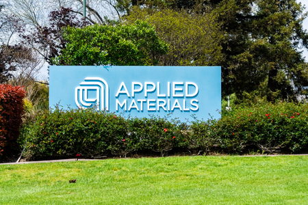 April 11, 2019 Santa Clara / CA / USA - Applied Materials sign posted at the entrance to the Company's campus in Silicon Valley, South San Francisco bay area