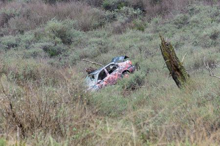 Old car crashed and vandalized, California