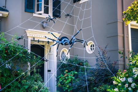 Spider web Halloween decor, Oakland, San Francisco bay, California
