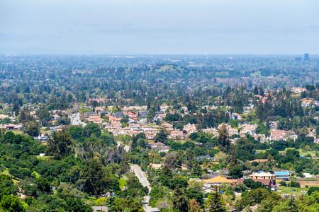 Aerial view of residential area in south San Jose, Santa Clara county, California