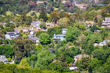 Aerial view of residential neighborhood; Redwood City; San Francisco bay area, California