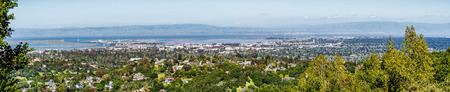 Panoramic view towards Redwood City and Menlo Park, Silicon Valley, San Francisco bay area, California