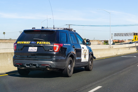 April 22, 2019 Hayward / CA / USA - Police car driving on the freeway in East San Francisco bay area