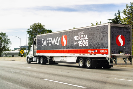 May 2, 2019 Redwood City  CA  USA - Safeway truck driving on the freeway in San Francisco bay area