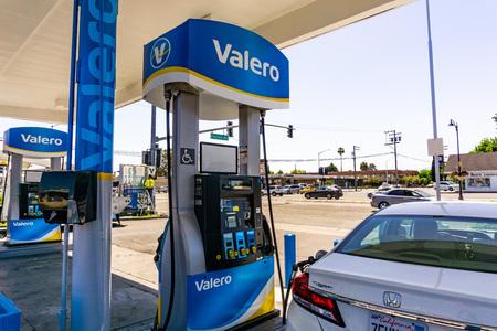 May 2, 2019 Santa Clara  CA  USA - Valero gas station located in San Francisco bay area