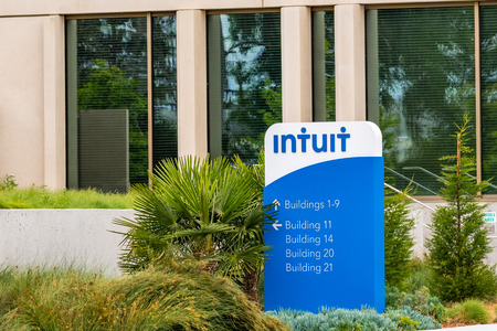 May 9, 2019 Mountain View / CA / USA - The offices of Intuit Incorporated, a company that develops and sells financial, accounting and tax preparation software, located in Silicon Valley