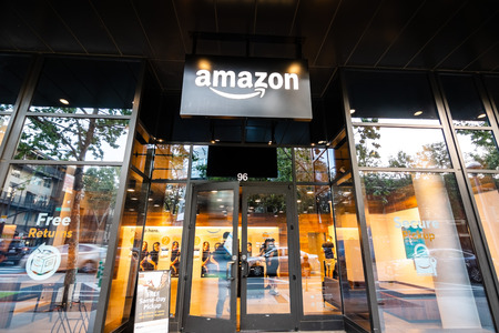 May 12, 2019 San Jose  CA  USA - Amazon Hub Locker in the downtown area, Silicon Valley Redakční