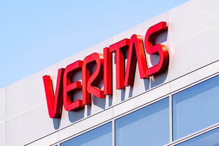 May 8, 2019 Santa Clara  CA  USA - Veritas logo on the facade of the Companys headquarters in Silicon Valley; Veritas Technologies LLC is an American international data management company Editorial
