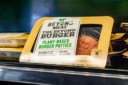 May 17, 2019 Cupertino  CA  USA - Beyond Meat Burger packages available for purchase in a store in San Francisco bay area