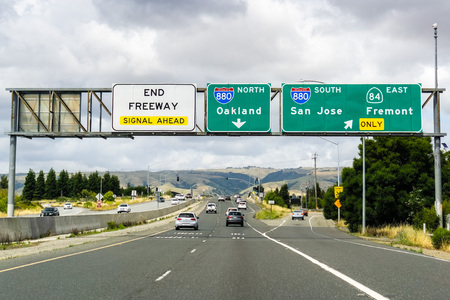 May 26, 2019 Fremont / CA / USA - Travelling on the freeway towards Oakland in East San Francisco bay area