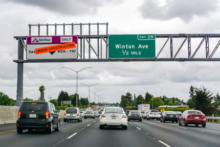 May 26, 2019 Fremont / CA / USA - Express Lane Under Construction in East San Francisco bay area Editorial