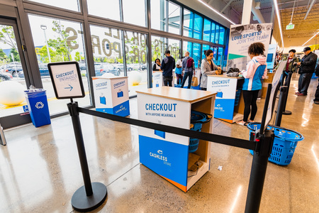 May 26, 2019 Emeryville  CA  USA - Checkout area in the newest Decathlon Sporting Goods flagship store, the first open in the San Francisco bay area, near Oakland Redakční