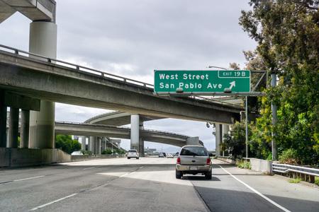 May 26, 2019 Oakland  CA  USA - Freeway interchange in East San Francisco bay area