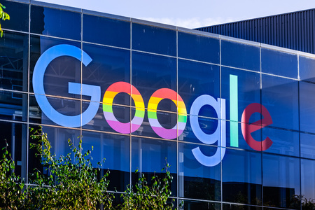 June 8, 2019 Mountain View  CA  USA - Google logo displayed in the Companys campus in Silicon Valley; The