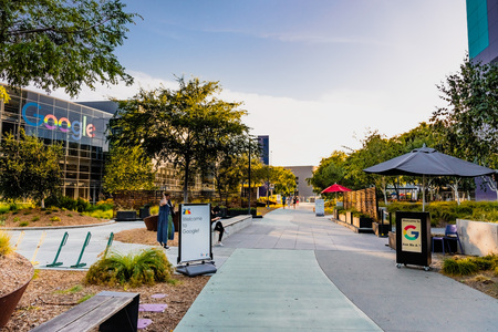 June 8, 2019 Mountain View  CA  USA - Evening view of the Google campus in Silicon Valley; The Redakční
