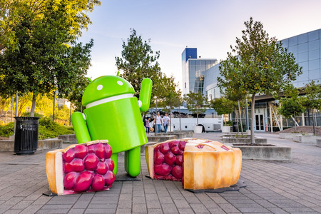 June 8, 2019 Mountain View  CA  USA - Android Pie sculpture located at at the entrance to Googleplex in Silicon Valley; Android 9.0 Pie is the newest version of the Android mobile OS;