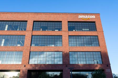 June 8, 2019 East Palo Alto / CA / USA - Amazon office building located in Silicon Valley, San Francisco bay area
