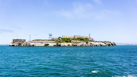Alcatraz Island, home to the abandoned prison, the site of the oldest operating lighthouse on the West Coast of the United States and early military fortifications; San Francisco bay, California
